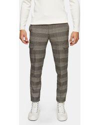 TOPMAN Pantalon cargo skinny stretch à carreaux - neutre - Gris