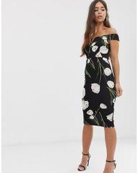 AX Paris - Halflange Bardot-jurk Met Bloemenprint - Lyst