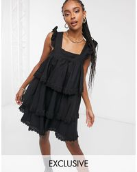 Reclaimed (vintage) Inspired Mini Smock Dress With Tiers And Lace - Black