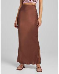 Bershka Satin Maxi Skirt - Brown