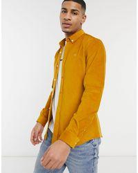 River Island Slim Fit Cord Shirt - Yellow