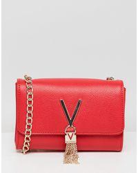 Valentino By Mario Valentino Divina Foldover Tassel Detail Cross Body Bag - Red