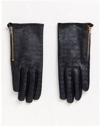 ASOS Кожаные Перчатки Для Сенсорных Гаджетов С Монограммой - Черный