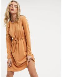Vila Jersey Tie Waist Dress - Orange