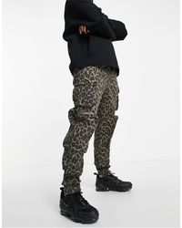 Liquor N Poker Leopard Print Cargo Trousers - Green
