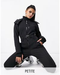 ASOS 4505 Petite Ski Fitted Belted Ski Suit With Fur Faux Hood - Brown
