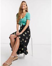 New Look Ruffle Midi Wrap Skirt - Black