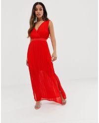 Y.A.S Petite Robe longue cache-cœur plissée - Rouge