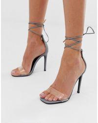 f15f548a3d9 Boohoo Reflective 2 Part Flat Block Heels in Metallic - Lyst