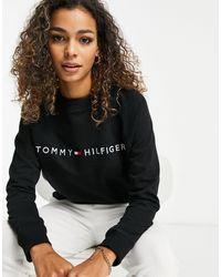 Tommy Hilfiger Lounge Sweatertop Van Organisch Katoen - Zwart