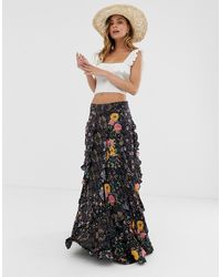 Free People Forever Flirt Layered Floral Skirt - Black