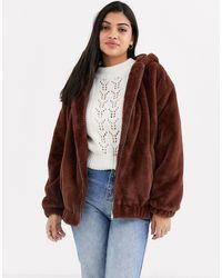 New Look Fur Hooded Bomber Jacket - Brown
