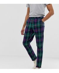ASOS Tall Tapered Pants In Plaid - Green