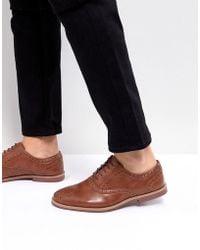 ASOS Asos Brogue Shoes In Tan Faux Leather With Contrast Sole - Brown