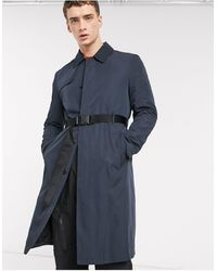 ASOS Single Breasted Trench Coat With Belt - Blue