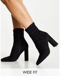 ASOS Wide Fit Effect Block Heel Sock Boots - Black