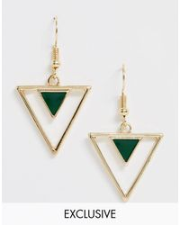 Glamorous Exclusive Triangle Enamel Drop Earrings Gold - Metallic