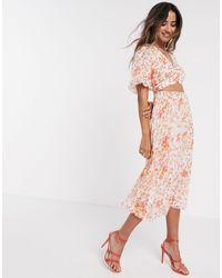 ASOS Wrap Around Pleated Midi Dress - Multicolor