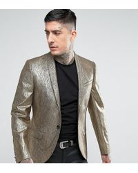 Noose And Monkey Super Skinny Blazer In Gold - Metallic