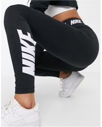 Nike Legging Met Hoge Taille En Logoband - Zwart
