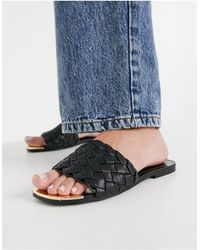 River Island Woven Flat Sandals - Black