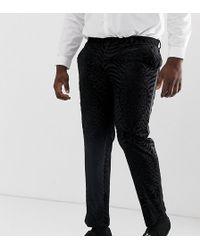 ASOS Plus Skinny Tuxedo Suit Trousers In Black Tiger Glitter Velvet