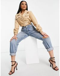 NA-KD Faux Leather Cropped Jacket - Natural