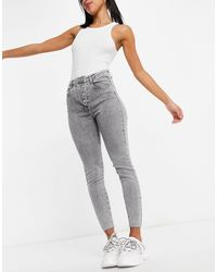 Missguided Asymmetric Button Jeans - Grey