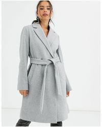 Bershka Серое Приталенное Пальто С Поясом -серый