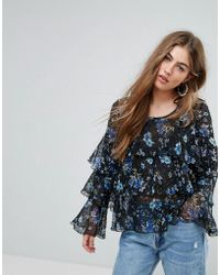 PRETTYLITTLETHING   Floral Ruffle Tier Blouse   Lyst