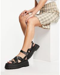 Public Desire Follow Chunky Sandals With Ankle Strap - Black