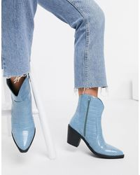 London Rebel Western Ankle Boots - Blue