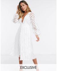 Missguided Organza Midi Dress - White