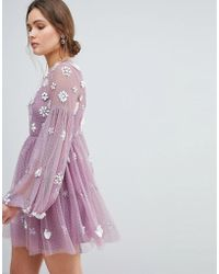 ASOS - Asos Floral Cluster Embellished Balloon Sleeve Mini Dress - Lyst