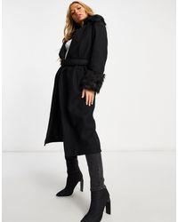 UNIQUE21 Черное Пальто Из Искусственного Меха С Поясом -черный Цвет
