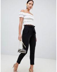 Lipsy - Tie Front Pants In Black - Lyst