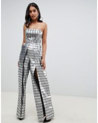a7949515428 ASOS - Structured Bandeau Jumpsuit With Split Leg In Silver Jacquard - Lyst