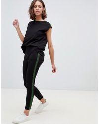 Ichi - Sport Stripe Jumpsuit - Lyst