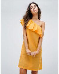 Warehouse - Ruffle One Shoulder Dress - Lyst