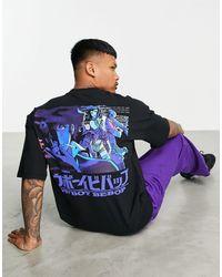 Pull&Bear T-shirt con stampa di manga sul retro nera - Nero