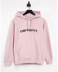 Carhartt WIP Sudadera rosa holgada con capucha y logo extragrande