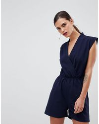 Y.A.S Tailored Wrap Playsuit - Blue