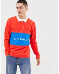 Only & Sons Zip Neck Long Sleeve Rugby Polo In Red