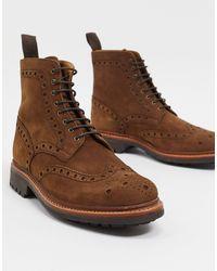 Grenson Коричневые Ботинки-броги Из Нубука -коричневый