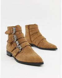 ASOS - Alissa Leather Buckled Boots - Lyst