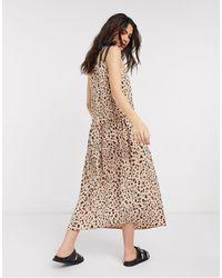 TOPSHOP Платье Миди С Заниженной Талией И Звериным Принтом -коричневый Цвет