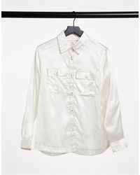 Native Youth High Shine Satin Shirt With Contrast Stitching - White