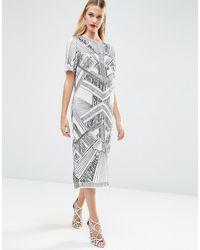 ASOS Red Carpet Iridescent Midi T-shirt Dress - Grey
