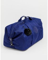 Kipling Blue Large Holdall Bag With Black Fluffy Charm