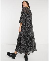 Vero Moda Черное Платье Макси В Мелкий Цветочек С Юбкой Ярусного Кроя -многоцветный - Черный